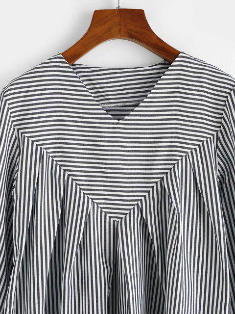 trendy Contrast Stripes Long Sleeve Tunic Dress - DEEP BLUE S Mobile
