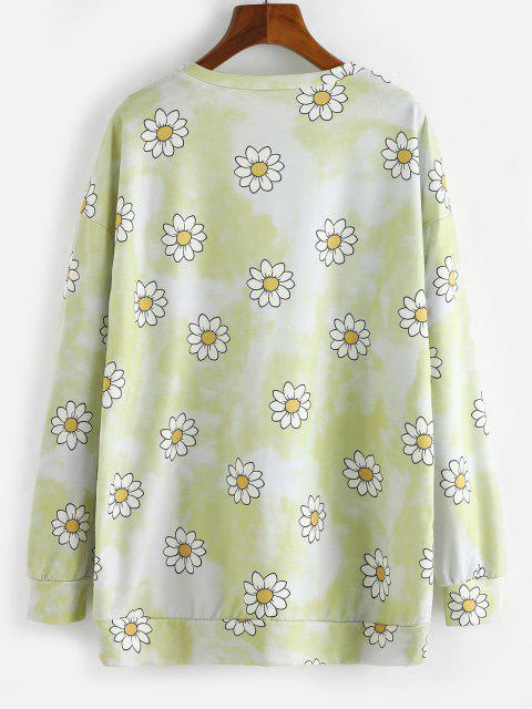 fancy Tie Dye Flower Drop Shoulder Boyfriend Sweatshirt - YELLOW XL Mobile