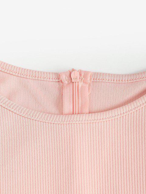 Mini Robe Côtelée Manches Longues Ourlet à Volants - Rose  XL Mobile