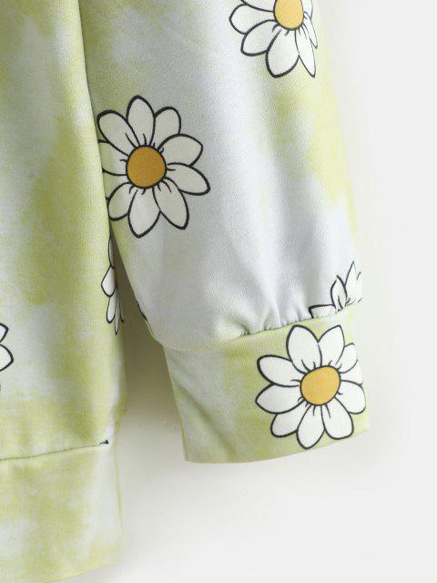 Sudadera Hombro Caído Diseño Teñido Anudado - Amarillo L Mobile