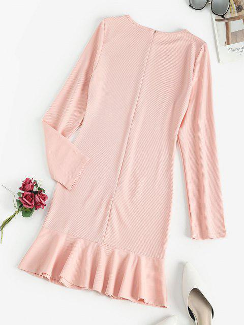 ladies Ribbed Ruffled Hem Long Sleeve Mini Dress - PINK S Mobile