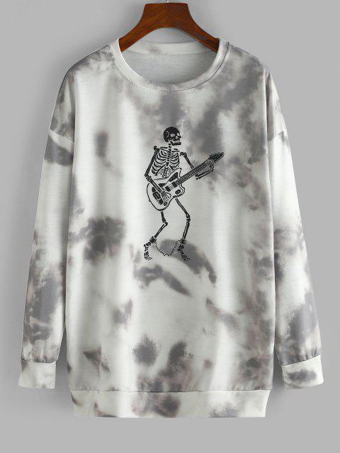 Halloween Skeleton Tie Dye Oversized Drop Shoulder Sweatshirt - رمادي داكن S Mobile