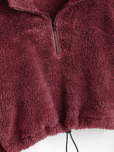 ZAFUL Sweat-shirt Court à Demi-Zip en Peluche - Rouge Vineux S Mobile