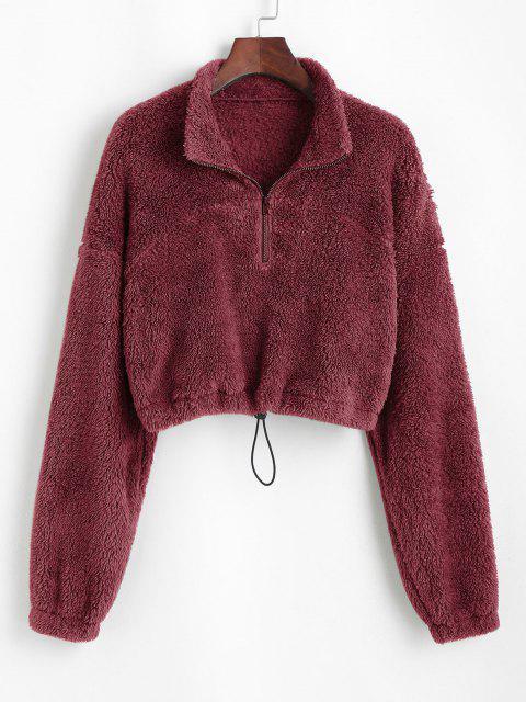 ladies ZAFUL Half Zip Plush Cropped Sweatshirt - RED WINE L Mobile