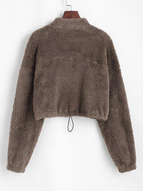 ZAFUL Half Zip Plush Cropped Sweatshirt - القهوة العميقة S Mobile