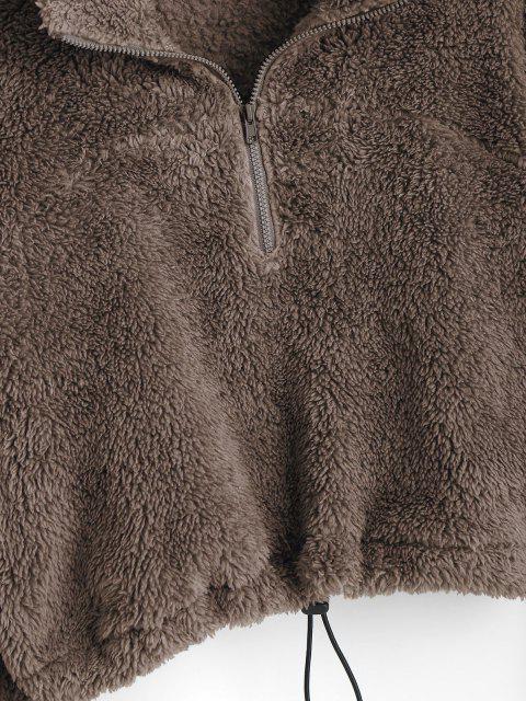 fancy ZAFUL Half Zip Plush Cropped Sweatshirt - DEEP COFFEE S Mobile