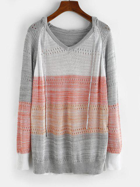 affordable Raglan Sleeve Colorblock Pointelle Knit Sweater - GRAY M Mobile