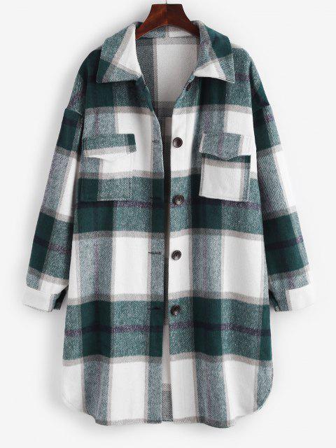 Plaid Front Pocket Wool Blend Coat - أبيض XL Mobile