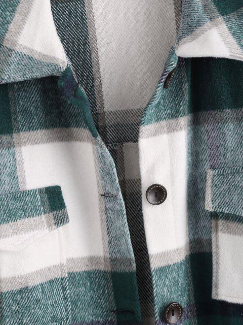 best Plaid Front Pocket Wool Blend Coat - WHITE S Mobile