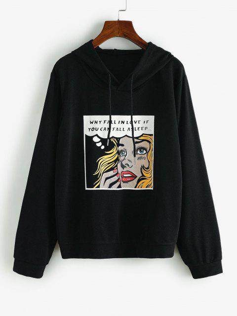 Drawstring Figure Letter Graphic Hoodie - أسود S Mobile