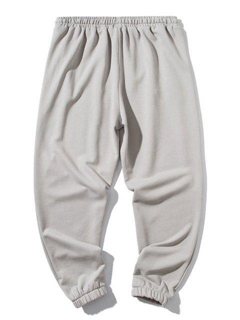 Pantalones Deportivos con Estampado de Letras y de Color Bloque - Gris XL Mobile