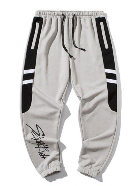 Pantalones Deportivos con Estampado de Letras y de Color Bloque - Gris 3XL Mobile