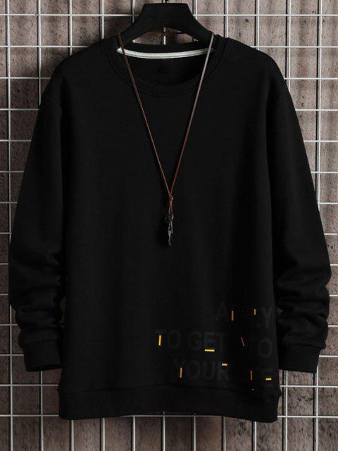 Buchstabe Grafik Gedrucktes Rippen Strick Trimm Sweatshirt - Schwarz 3XL Mobile