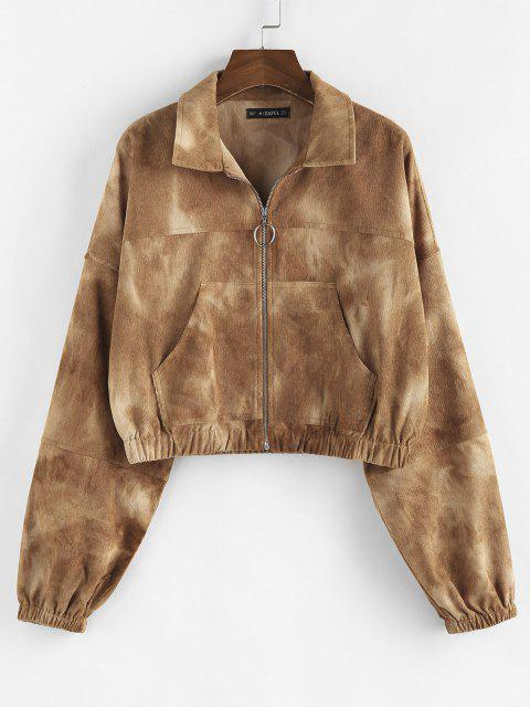 chic ZAFUL Corduroy Pocket Pull Ring Drop Shoulder Jacket - LIGHT COFFEE L Mobile