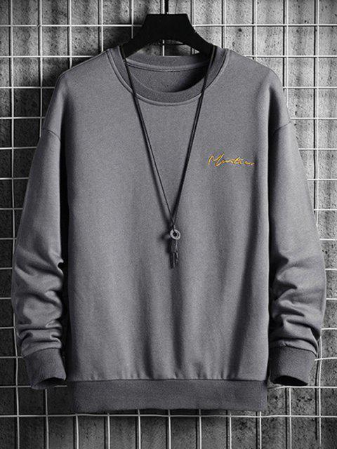 Sweat-shirt à Lettre Brodée à Épaules Tombantes - Gris 4XL Mobile