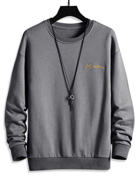 Sweatshirt mit Buchstabe Stickerei und Hängender Schulter - Grau 2XL Mobile