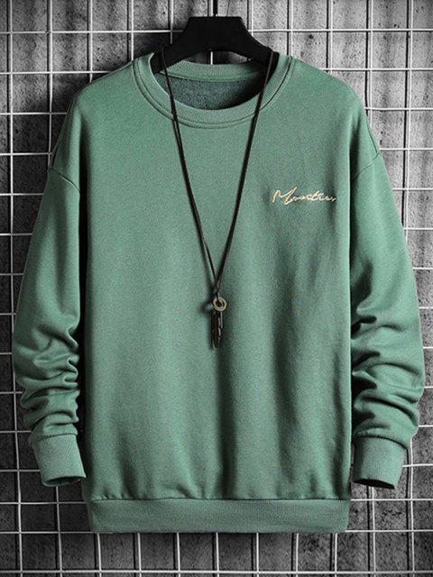 Sweatshirt mit Buchstabe Stickerei und Hängender Schulter - Grün 3XL Mobile