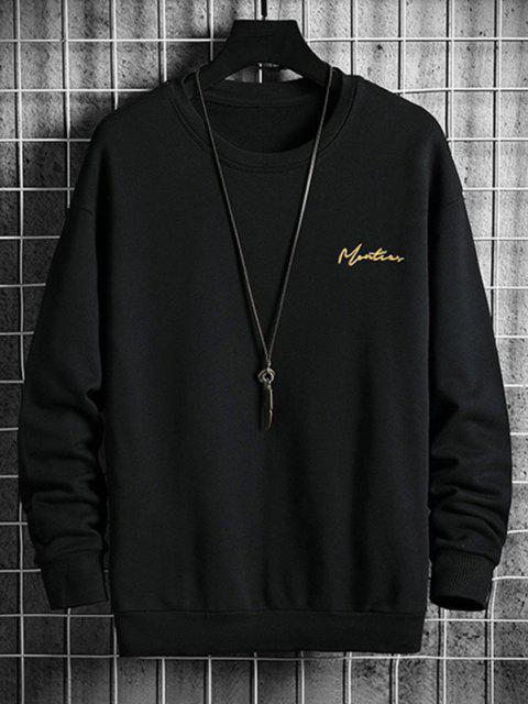 Sweatshirt mit Buchstabe Stickerei und Hängender Schulter - Schwarz 3XL Mobile