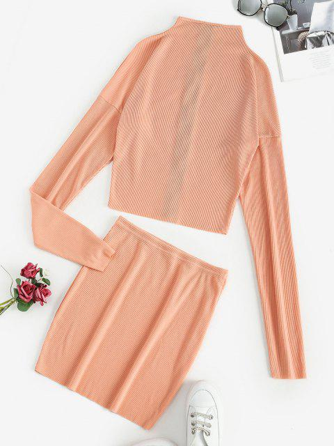 best Ribbed Zip Up Mock Neck Two Piece Dress - TANGERINE M Mobile