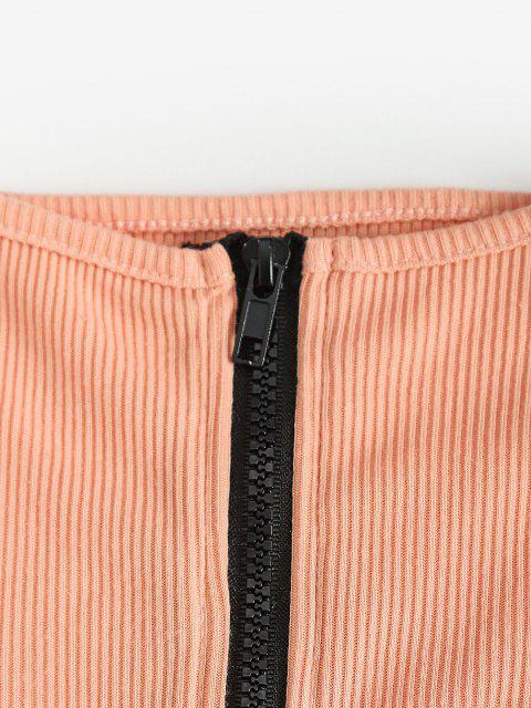 unique Ribbed Zip Up Mock Neck Two Piece Dress - TANGERINE L Mobile