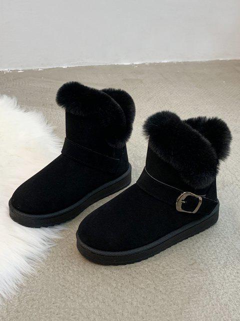 shop Buckle Faux Fur Snow Boots - BLACK EU 39 Mobile