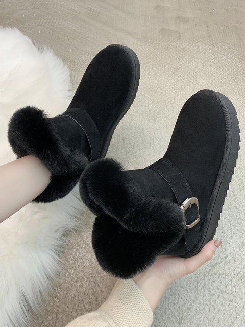 shops Buckle Faux Fur Snow Boots - BLACK EU 40 Mobile