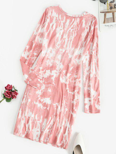 outfit Tie Dye Ruched Long Sleeve Bodycon Dress - LIGHT PINK M Mobile