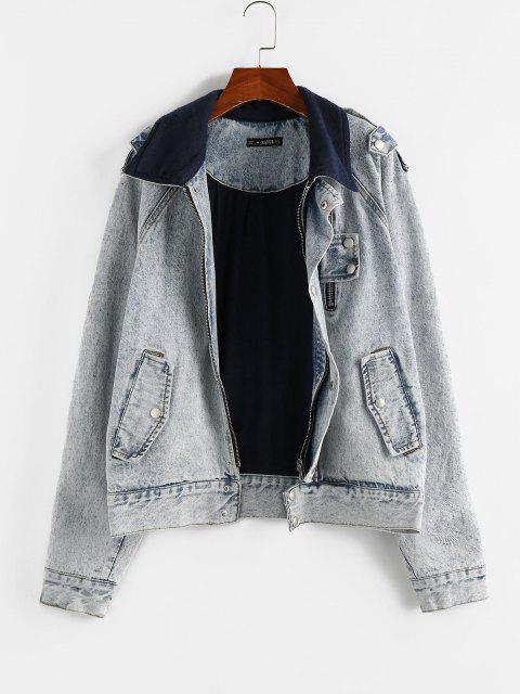 ZAFUL Raglan Sleeve Fleece Lining Denim Jacket - أزرق فاتح M Mobile