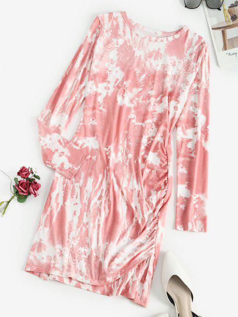 Robe Moulante Teintée à Manches Longues à Volants - Rose clair S Mobile
