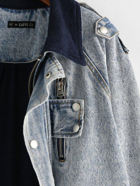 ZAFUL Veste à Manches Raglan à Doublure en Laine en Denim - Bleu clair S Mobile