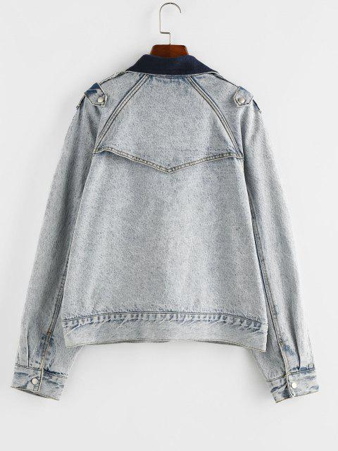 best ZAFUL Raglan Sleeve Fleece Lining Denim Jacket - LIGHT BLUE S Mobile