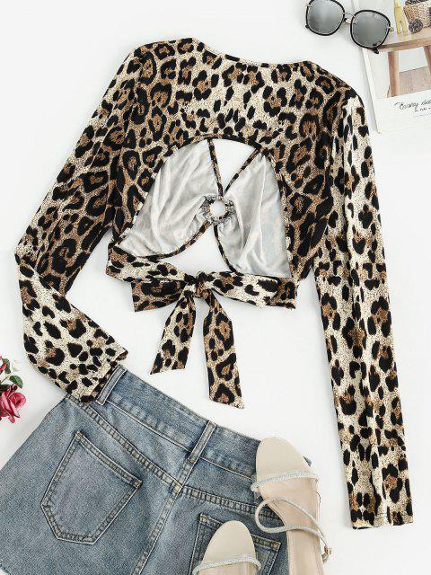 T-shirt com Anel de Gravata Leopardo Cortado nas Costas Leopardo - Café L Mobile