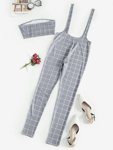 shop Checked Bandeau Top and Suspender Pants Set - GRAY L Mobile