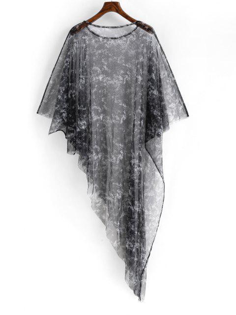 unique Poncho Tie Dye Sheer Mesh Beach Dress - BLACK ONE SIZE Mobile