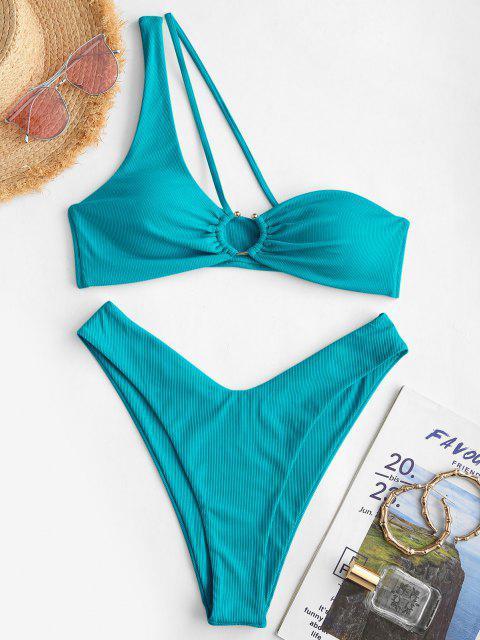 ZAFUL Bikini de Un Hombro Acanalado con Anillo - Azul Verde Guacamayo  S Mobile