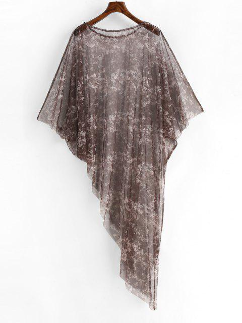 affordable Poncho Tie Dye Sheer Mesh Beach Dress - PUCE ONE SIZE Mobile