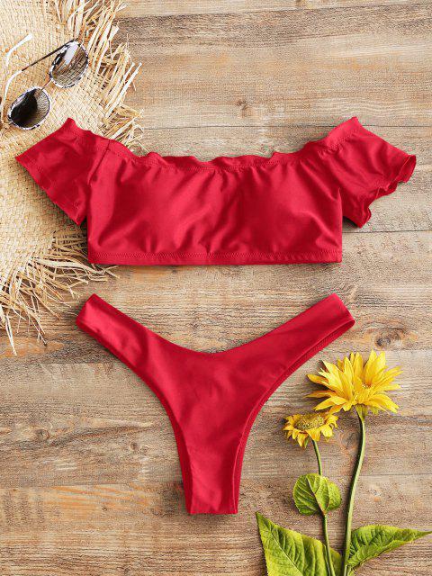Bikini en String à Epaules Dénudées et Motif de Laitue - Rouge L Mobile