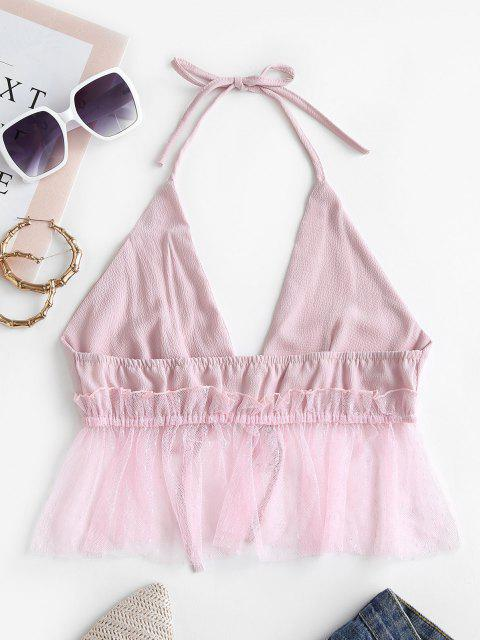 new Tulle Panel Tie Front Halter Top - PIG PINK S Mobile