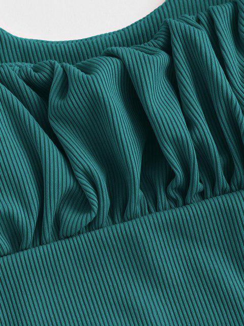 ZAFUL Quadrat Gerippte Tankini Badebekleidung - Blaugrün 2XL Mobile