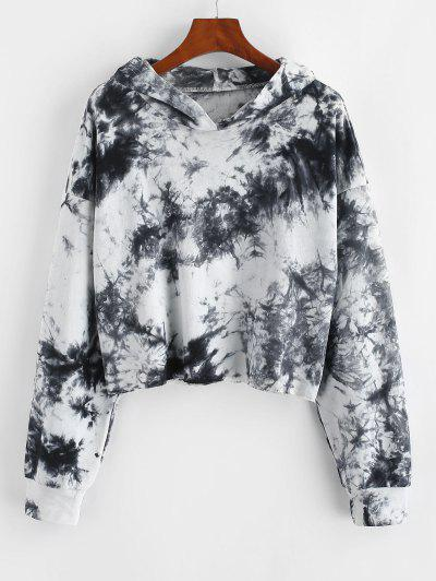 Lou-Ann Vecchia X ZAFUL Tie Dye Drop Shoulder Raw Hem Hoodie - Multi-a M