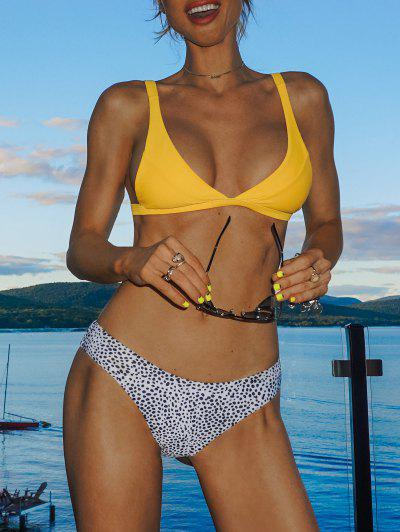 Leopard High Cut Bikini Set - Yellow M