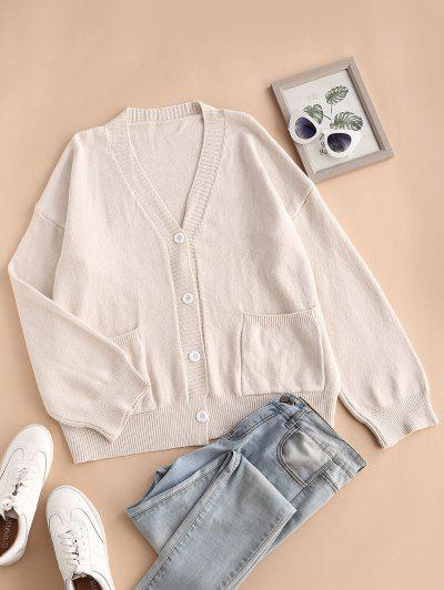 Double Pockets Button Up Cardigan - White