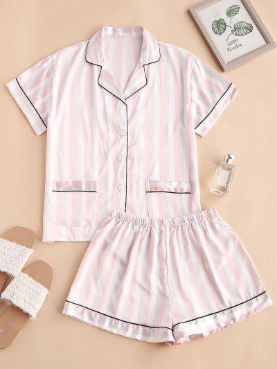 Striped Pocket Satin Contrast Piping Pajama Shorts Set - Light Pink S