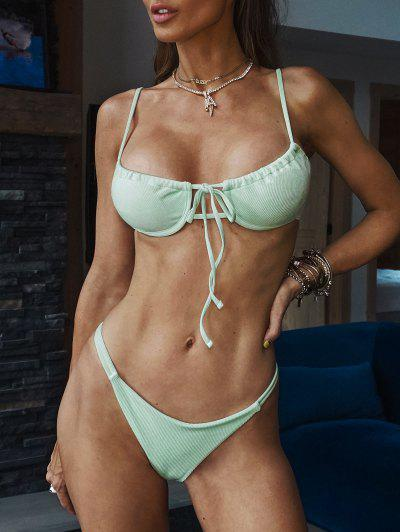 ZAFUL Ribbed Tie Underwire Bikini Swimwear - Light Green S