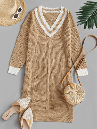 Preppy Stripes Side Slit Sweater Dress - Light Coffee L
