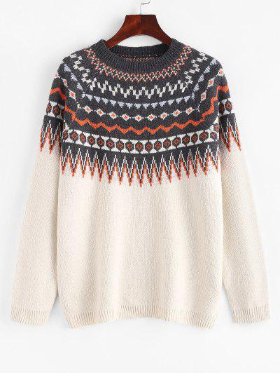Raglan Sleeve Fair Isle Knit Sweater - White M
