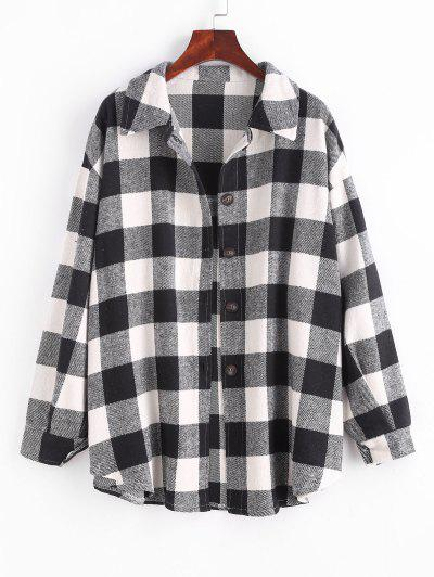 Checked Wool Blend Coat - Black S