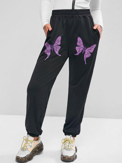 Pockets Butterfly High Waisted Jogger Sweatpants - Black S