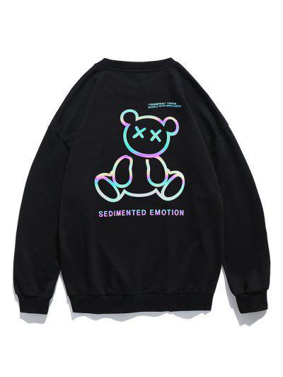 Reflective Bear Graphic Drop Shoulder Lounge Sweatshirt - Black L