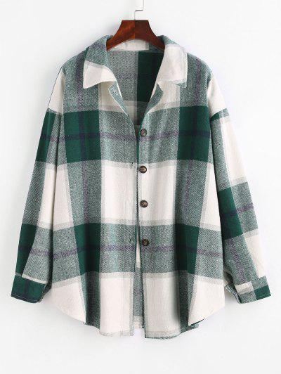 Checked Wool Blend Coat - Green M